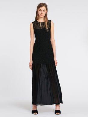 Embroidered tulle and georgette dress