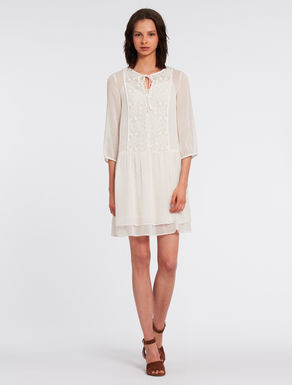 Georgette and embroidered tulle dress