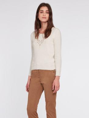 Angora blend sweatshirtwith lace