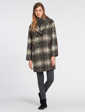 Bouclé coat with tartan pattern