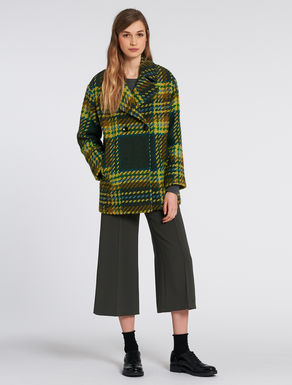 Peacoat in woven roving with tartan pattern