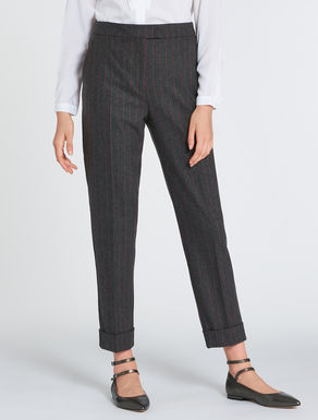 Flannel slim-fit trousers
