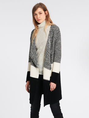 Woollen colour-block cardigan