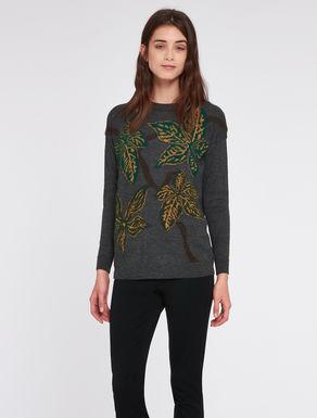 Sweatshirt with floral inlay