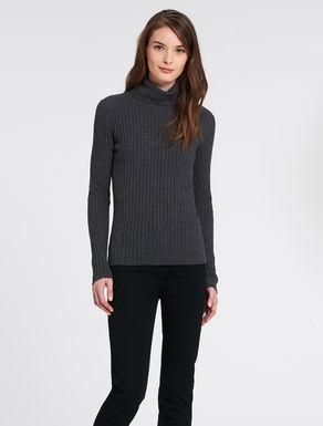 Ribbed lambswool polo neck sweatshirt