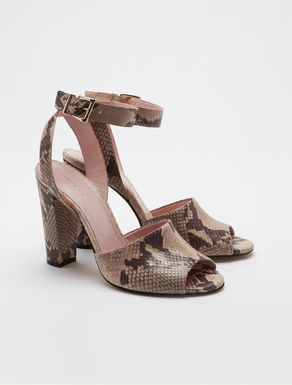 Reptile print leather sandals