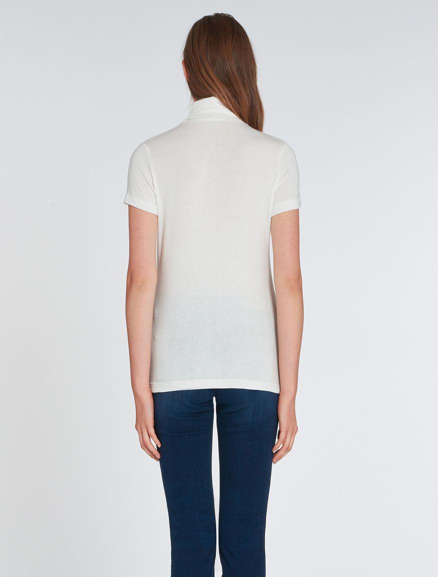 Roll Neck T Shirt In Jersey Ivory Rapallo Pennyblack
