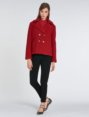Peacoat in thick jersey with boiled wool effect