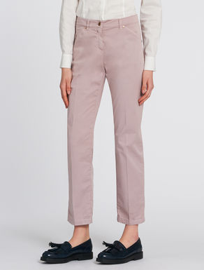 Slim fit trousers in cotton satin