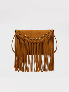 Suede clutch with fringe