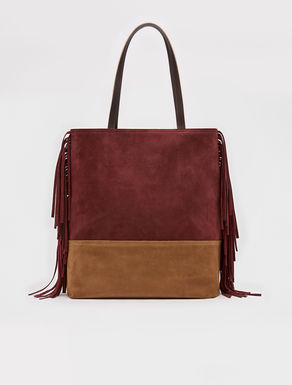 Fringed colour-block shopper bag