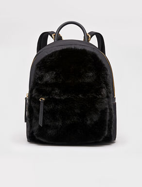 Furry fabric and nylon backpack