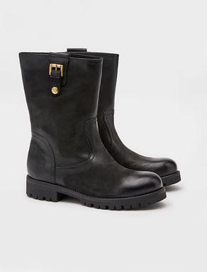 Nabuck leather biker boots