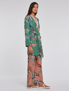 Foliage print duster coat