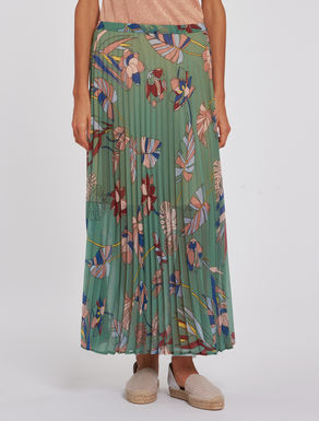 Sunburst pleat maxi-skirt