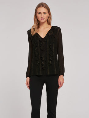 Crépon lamé blouse with flounce