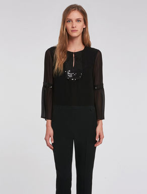 Sequinned georgette blouse.