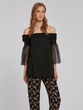 Cotton and organza blouse