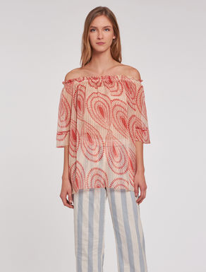 Printed lamé silk blouse