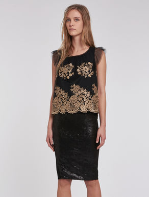 Tulle top with floral embroidery
