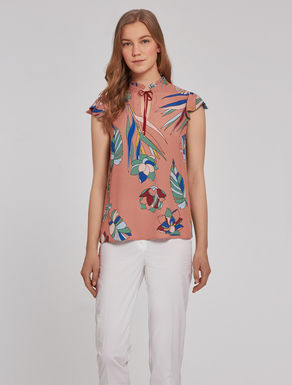 Top in printed crêpe fabric
