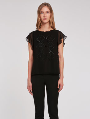 Georgette blouse with appliqués