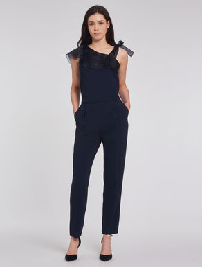 Cady and organza jumpsuit with flounce