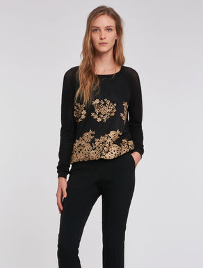 Mesh sweater with embroidered tulle