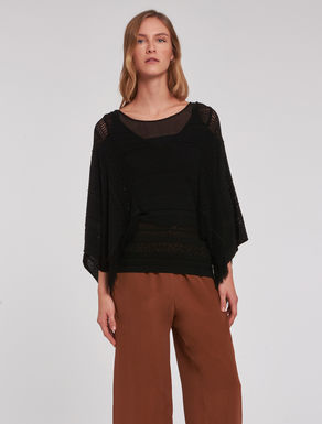Openwork sweater with fringe