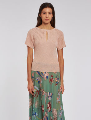 Pleated lamé sweater