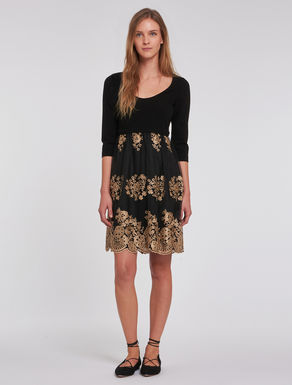 Embroidered lace and jersey dress