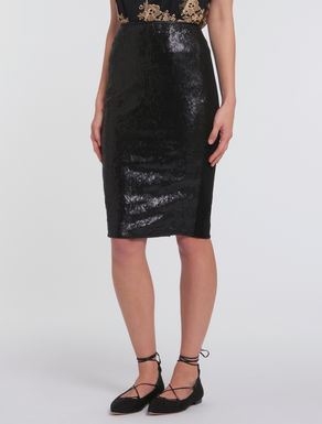 Jersey skirt with sequins