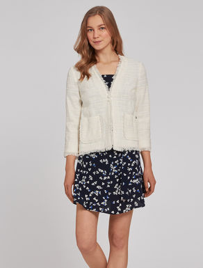 Basketweave jacket with fringe