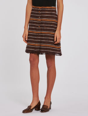 Striped basketweave skirt