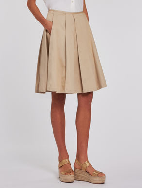 Pleated cotton satin skirt