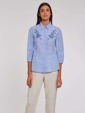 Slim-fit embroidered cotton shirt