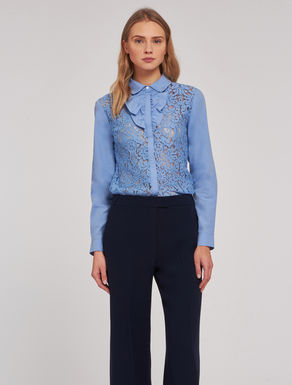 Lace and poplin shirt