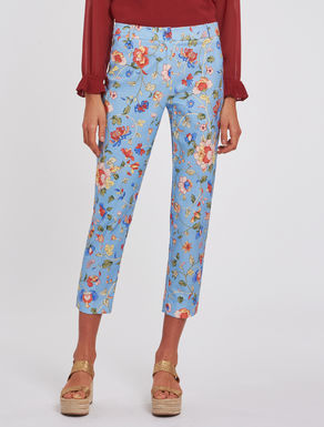 Floral basketweave trousers