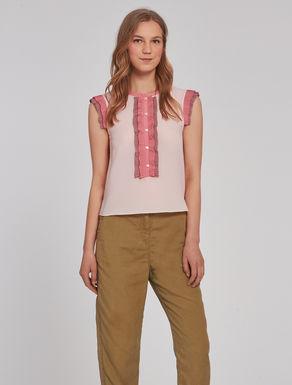 Top with pleated ruching