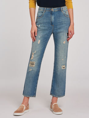 Jeans straight fit con strappi