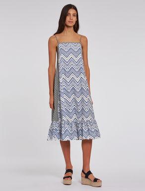 Printed poplin midi dress