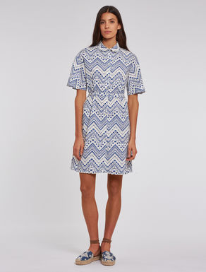 Printed poplin shirt dress