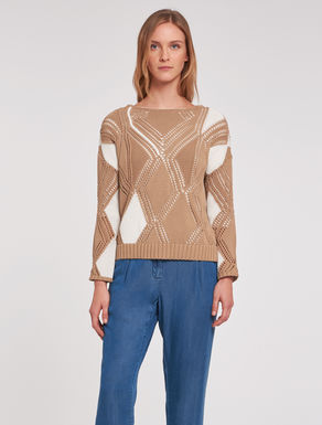 Two-tone openwork sweater