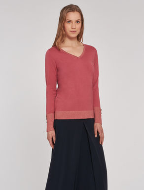 Silk/cotton and lamé sweater