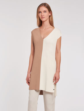 Colour-block knitted tunic