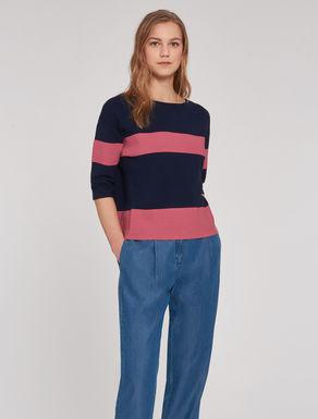 Striped colour-block sweater