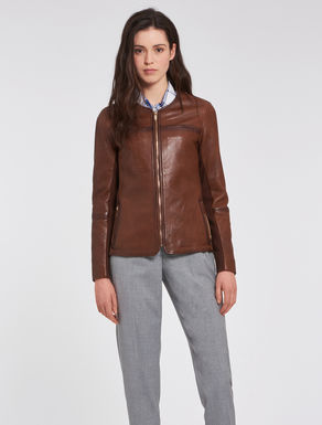 Slim-fit jacket in soft nappa