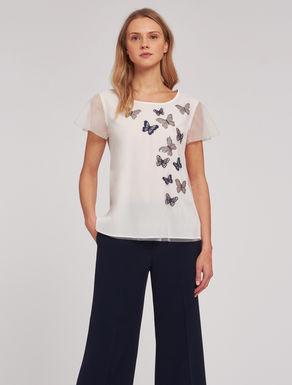 T-shirt in tulle con applicazioni