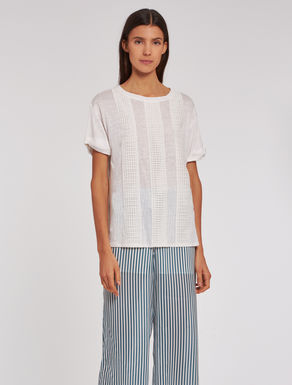 Linen jersey and lace T-shirt