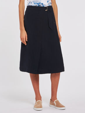 Midi skirt in soft linen